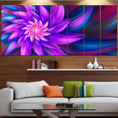 Designart Huge Purple Fractal Flower Floral CanvasArt Print- 4 Panels