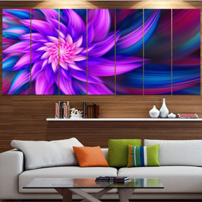 Designart Huge Purple Fractal Flower Floral CanvasArt Print- 6 Panels