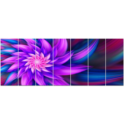 Designart Huge Purple Fractal Flower Floral CanvasArt Print- 7 Panels