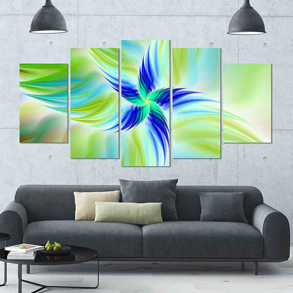 Designart Huge Rotating Green Flower Large FloralCanvas Art Print - 5 Panels