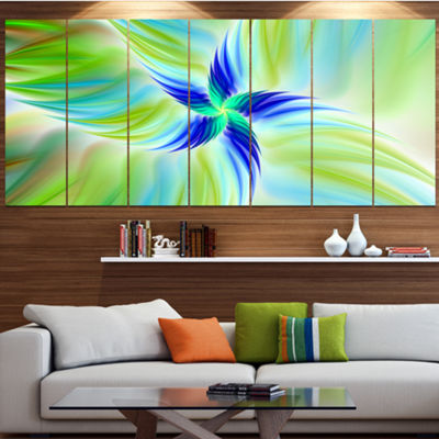 Designart Huge Rotating Green Flower Floral CanvasArt Print- 7 Panels