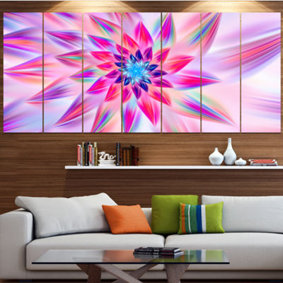 Designart Huge Pink Blue Fractal Flower Large Floral Canvas Art Print - 5 Panels