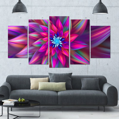 Designart Huge Purple Pink Fractal Flower Large Floral Canvas Art Print - 5 Panels