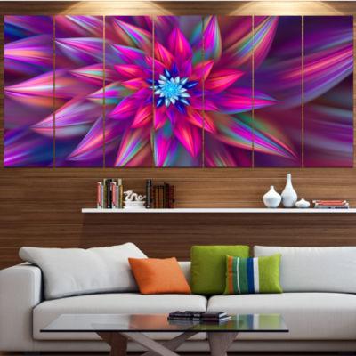 Designart Huge Purple Pink Fractal Flower FloralCanvas Art Print - 5 Panels