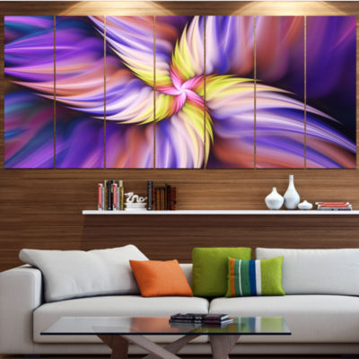 Purple Yellow Rotating Flower Floral Canvas Art Print - 4 Panels