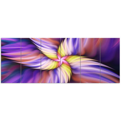 Purple Yellow Rotating Flower Floral Canvas Art Print - 6 Panels