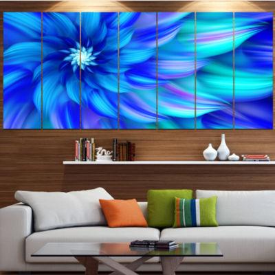Designart Massive Blue Fractal Flower Large FloralCanvas Art Print - 5 Panels
