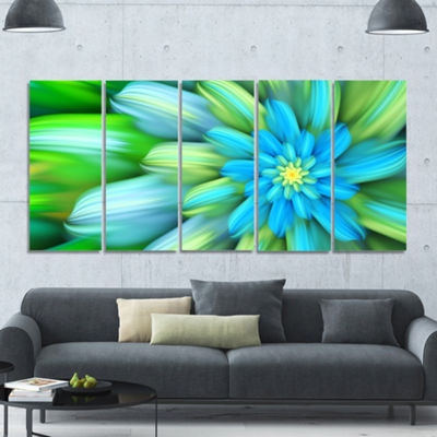 Designart Massive Green Fractal Flower Floral Canvas Art Print - 5 Panels