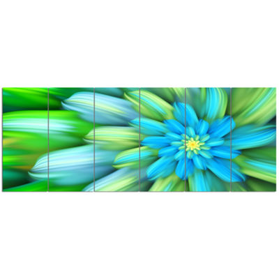 Designart Massive Green Fractal Flower Floral Canvas Art Print - 6 Panels
