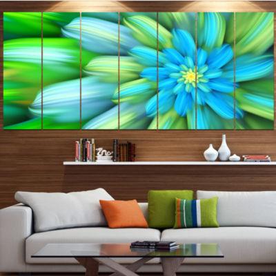 Designart Massive Green Fractal Flower Floral Canvas Art Print - 7 Panels