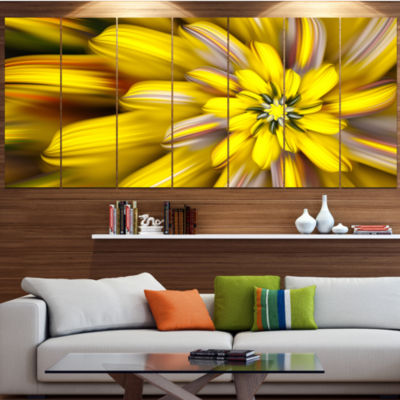 Designart Massive Yellow Fractal Flower Large Floral Canvas Art Print - 5 Panels