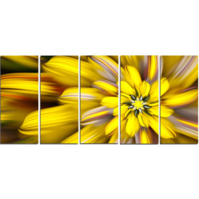 Massive Yellow Fractal Flower Floral Canvas Art Print - 5 Panels