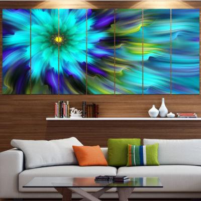 Massive Blue Green Fractal Flower Floral Canvas Art Print - 6 Panels