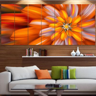 Designart Massive Orange Fractal Flower Floral Canvas Art Print - 4 Panels