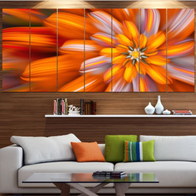 Designart Massive Orange Fractal Flower Floral Canvas Art Print - 7 Panels
