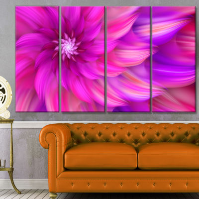 Massive Pink Fractal Flower Floral Canvas Art Print - 4 Panels