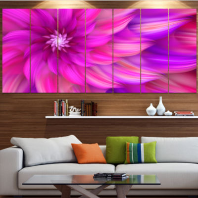 Designart Massive Pink Fractal Flower Floral Canvas Art Print - 5 Panels