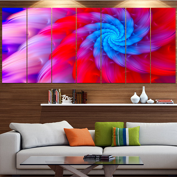 Designart Rotating Red Pink Fractal Flower FloralCanvas Art Print - 5 Panels