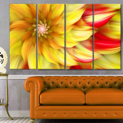 Designart Rotating Yellow Red Fractal Flower Floral Canvas Art Print - 4 Panels