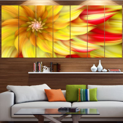 Designart Rotating Yellow Red Fractal Flower Floral Canvas Art Print - 5 Panels
