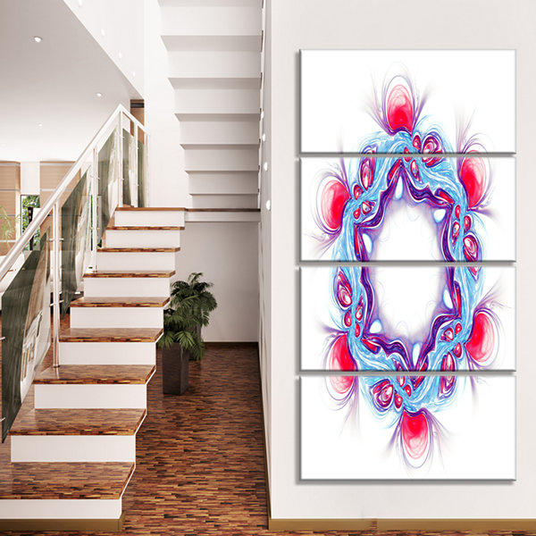 Design Art Blue Red Fractal Flower On White FloralCanvas Art Print - 4 Panels