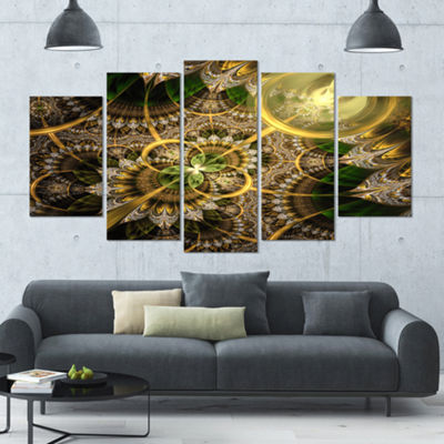 Designart Dark Green And Gold Fractal Flower Floral Canvas Art Print - 5 Panels