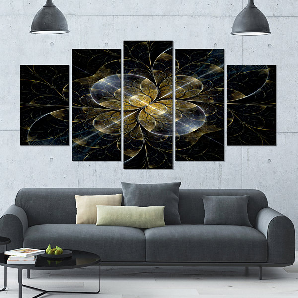 Designart Symmetrical Golden Fractal Flower LargeFloral Canvas Art Print - 5 Panels