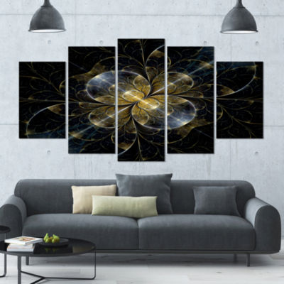 Designart Symmetrical Golden Fractal Flower FloralCanvas Art Print - 5 Panels
