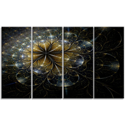 Large Mystic Golden Fractal Flower Floral Canvas Art Print - 4 Panels