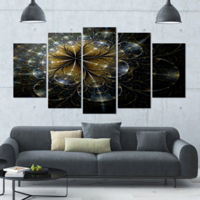 Designart Large Mystic Golden Fractal Flower LargeFloral Canvas Art Print - 5 Panels