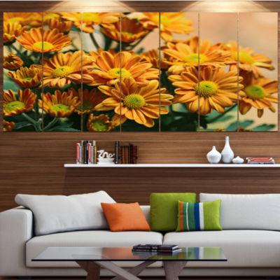 Designart Bright Yellow Flowers In Garden Large Floral Canvas Art Print - 5 Panels