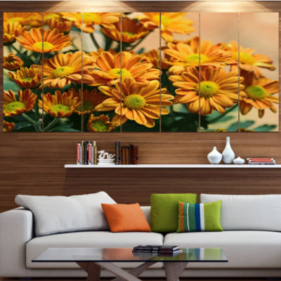 Design Art Bright Yellow Flowers In Garden FloralCanvas Art Print - 7 Panels