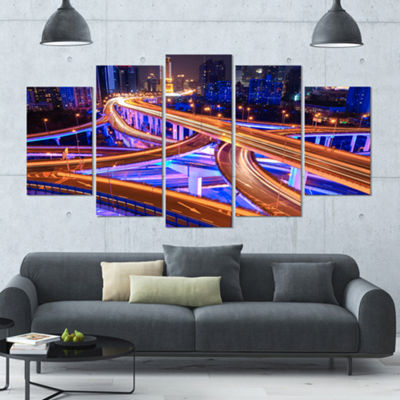 Designart Colorful City Overpass At Night Large Cityscape Canvas Art Print - 5 Panels