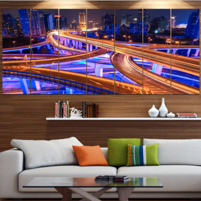 Design Art Colorful City Overpass At Night Cityscape Canvas Art Print - 7 Panels