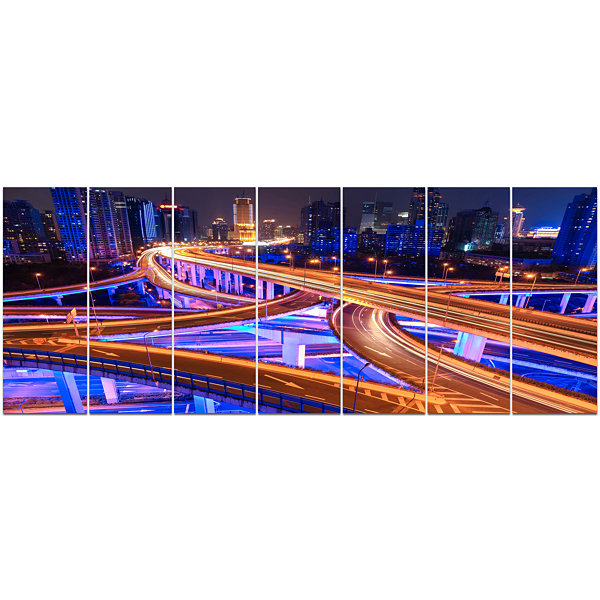 Designart Colorful City Overpass At Night Cityscape Canvas Art Print - 7 Panels