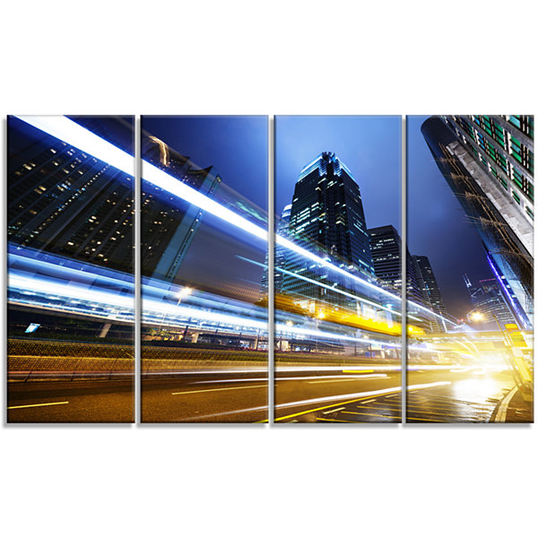 Designart Traffic In Hong Kong At Night CityscapeCanvas Art Print - 4 Panels