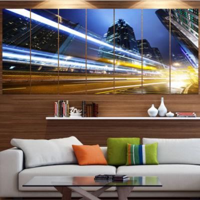 Designart Traffic In Hong Kong At Night Large Cityscape Canvas Art Print - 5 Panels
