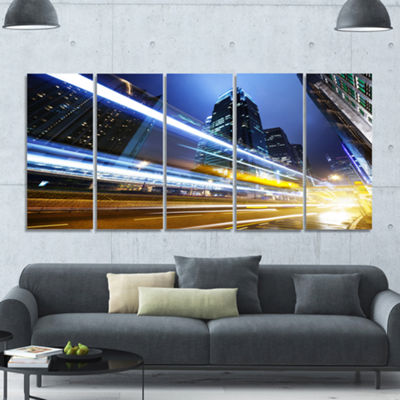 Designart Traffic In Hong Kong At Night CityscapeCanvas Art Print - 5 Panels
