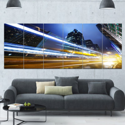 Traffic In Hong Kong At Night Cityscape Canvas ArtPrint - 6 Panels