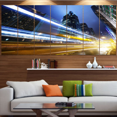 Designart Traffic In Hong Kong At Night CityscapeCanvas Art Print - 7 Panels