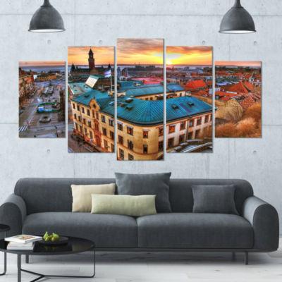 Designart Colorful City Landscape Cityscape CanvasArt Print- 5 Panels