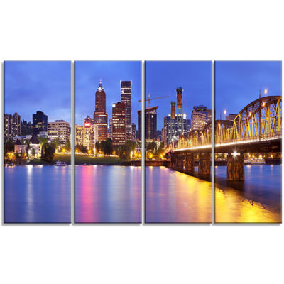Designart Skyline Across The Willamette River Cityscape Canvas Art Print - 4 Panels