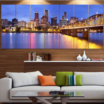 Designart Skyline Across The Willamette River Cityscape Canvas Art Print - 4 Panels