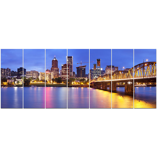 Designart Skyline Across The Willamette River Cityscape Canvas Art Print - 7 Panels
