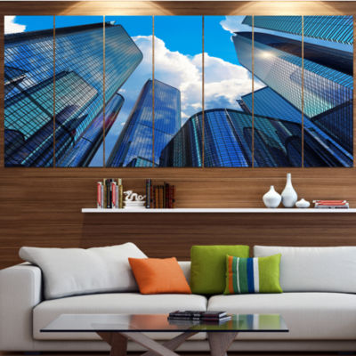 Designart Elevated Business Buildings Cityscape Canvas Art Print - 4 Panels