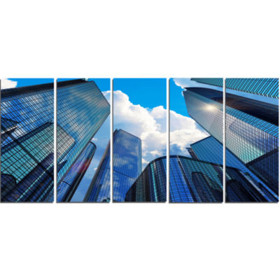 Elevated Business Buildings Cityscape Canvas Art Print - 5 Panels