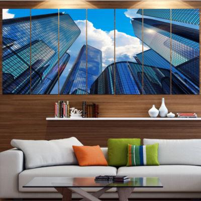 Designart Elevated Business Buildings Cityscape Canvas Art Print - 7 Panels
