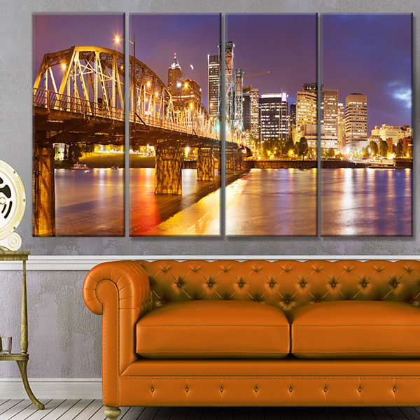 Designart Skyline Of Portland Panorama CityscapeCanvas Art Print - 4 Panels