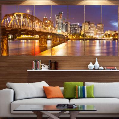 Designart Skyline Of Portland Panorama CityscapeCanvas Art Print - 5 Panels