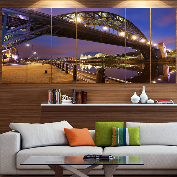 Designart Bridges Over River Tyne Newcastle Cityscape Canvas Art Print - 6 Panels